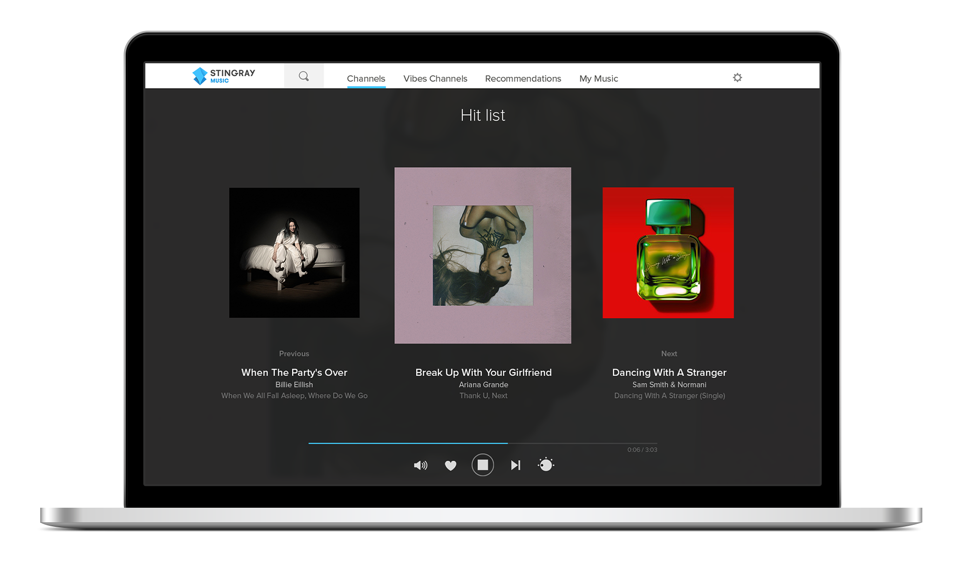 Stream music online with the Stingray Music web player